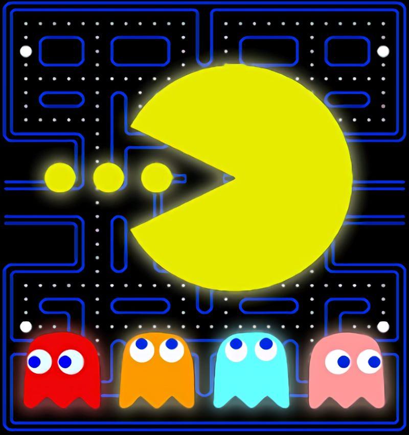 Capa do jogo com o Pacman e os fantasmas