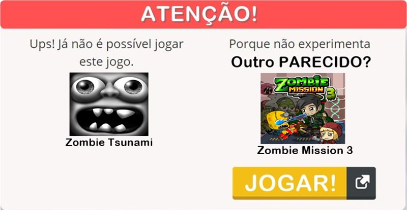 Zombie Tsunami - segunda opção de jogo